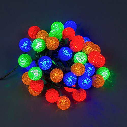 LuminalPark Guirlande 6m, 40 Mini Boules EVA Ø 35 mm, LED Multicolore, câble Vert