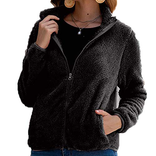 Autumn And Winter All-Match Slim Zipper Solid Color Plush Women'S Jacket Black