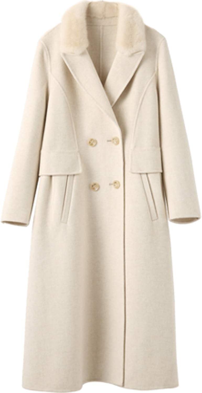 Women's Fur Collar DoubleSided Cashmere Coat Long Woolen Outwear Autumn Winter