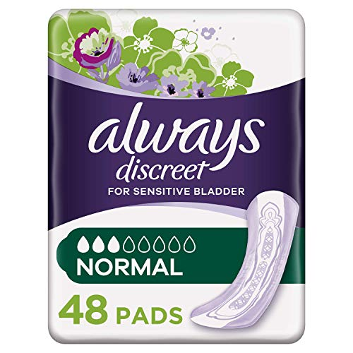 Always Discreet Incontinence Pads for Women, Normal, 48 Moderate Absorbency...