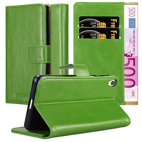 Cadorabo Hülle für Sony Xperia E5 in Gras GRÜN – Handyhülle mit Magnetverschluss, Standfunktion & Kartenfach – Hülle Cover Schutzhülle Etui Tasche Book Klapp Style
