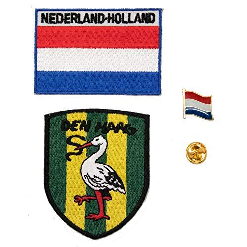 A-One 3-teiliges Set - The Netherlands Den HAAG Storch Shield Patch + Holland Flag Bag Badge Patch + Nerderland Flagge Pin Schraffenhach Ooievaar Patch Länderflagge Revers