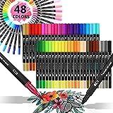 Filzstifte, Surcotto 48 Farben Aquarell Doppelfasermaler, 1-2 mm Brush pen mit 0,4mm Fineliner, Dual Marker Pen Set für Handlettering Bullet Journal Mandala Malbuch Zubehör, Malstifte für Erwachsene