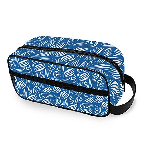 FAJRO Trousse de toilette de voyage multifonction Motif floral Bleu foncé