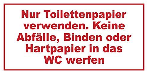 INDIGOS UG - Nur Toilettenpapier verwenden. Keine Abfälle Hinweisschild, selbstklebend, 20x10 cm