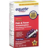 Equate - Infants' Pain & Fever Acetaminophen 160 mg, Suspension Liquid, Grape Flavor 1 oz