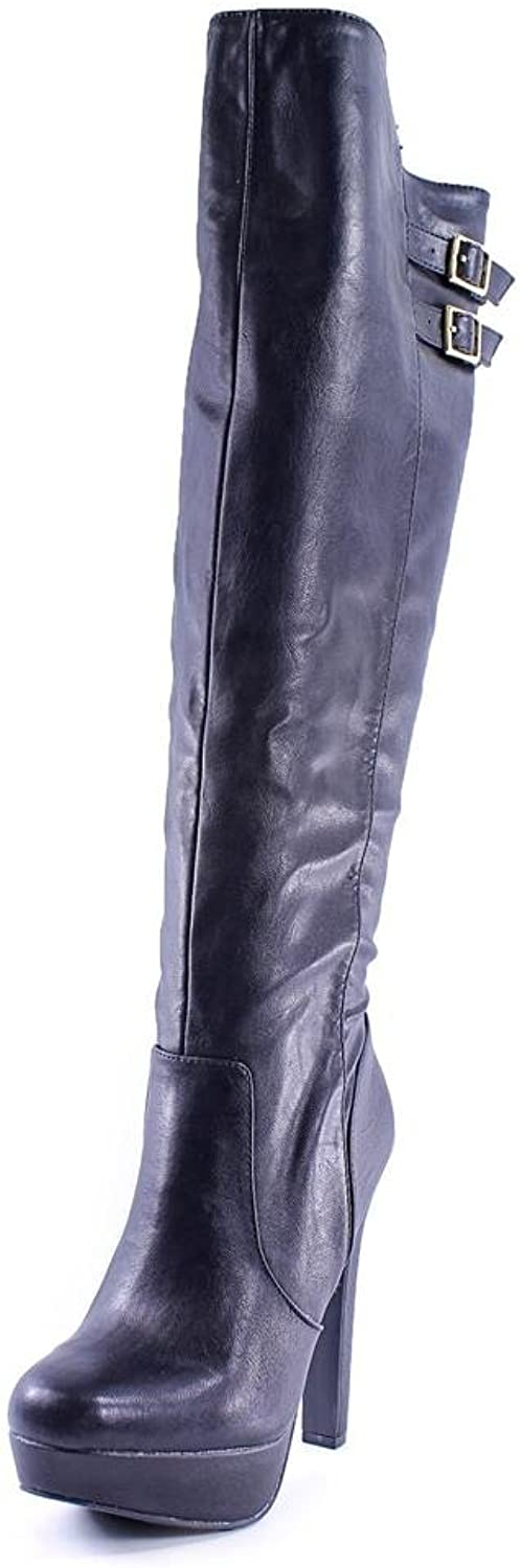 Material Girl Rozie Womens US Size 5.5 Black Fashion Knee-High Boots