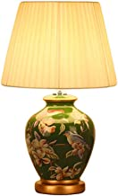 HZB Bedroom Bedside Lamp Living Room, European Style American Garden Study, Classical Green Ceramic Table Lamp.