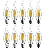 MENTA Lampadina LED E14 Candela 6W equivalente a 60 W Bianca Caldo 2700K 600lm Lampadina Filamento LED E14 C35 a Forma di Fiamma Non dimmerabile Vetro 10 Pezzi