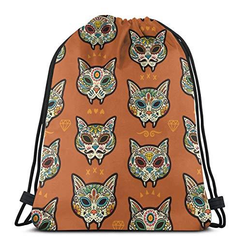 Light Ing Sugar Cat Skulls Drawstring Backpack Gym Sack Cinch Bag String Bag