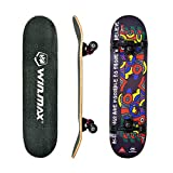 WIN.MAX Completo Skateboard para Principiantes 31'x8' 7 Capas Monopatín de Madera de Arce con...