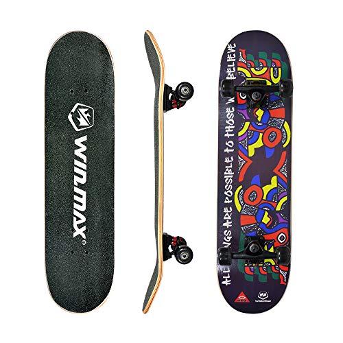 WIN.MAX Skateboard, Komplettboard mit ABEC Kugellager, 31 * 8 Zoll Holzboard aus 9 Fach Verleimte Ahornholz (Celt)