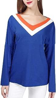 Macondoo Women Pullover Top Long Sleeve Tee Spell Color V Neck T-Shirt