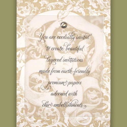 Printable DIY Invitations Kit - Premium 100% Recycled Vintage Cherub with Citrine Crystal Brad (10 count)