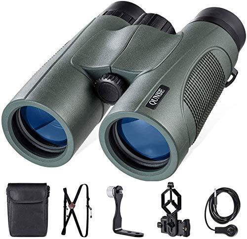 QUNSE 10x42 Fernglas Kompakt, BAK4 Prisma FMC Linse Fernglas mit Handyadapter, Gurtband, Fernauslöser und Befestigung für Stativ, geeignet für die Safari, Das Vogel beobachten oder Astronomie (Grün)