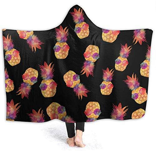 Hoodie-Decken für Erwachsene Kinder, warm halten, weiche Überwurfhülle für die Lounge-Couch, Lesen, Fernsehen, Brille, Ananas, Übergröße, tragbare Überwurfhüllen
