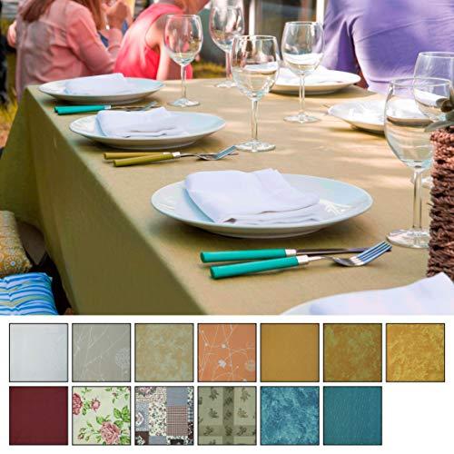 Baumwolltischdecke Tischdecke Gartentischdecke Innen- und Außenbereich 130x160-130x220 - fleckenabweisend wasserabweisend acrylversiegelung abwischbar wachbar Teflon (blau/Struktur 130x160 cm)