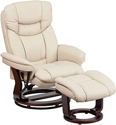 Flash Furniture Recliner Chair with Ottoman   Beige LeatherSoft Swivel Recliner Chair with Ottoman Footrest