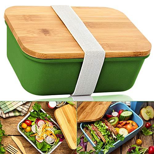 bambuswald© 4 Stück ökologische Aufbewahrungsboxen in unterschiedlichen Größen mit Deckel aus 100% Bambus & Gummiband Verschluss   Lunchbox Brotdose Brotbox Transportbox Behälter Box Dose