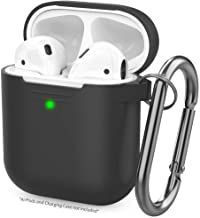 AhaStyle Upgrade AirPods Case Silicone Protective Cover Skin [Front LED Visible] Compatible with AirPods 2 and 1 (Black)