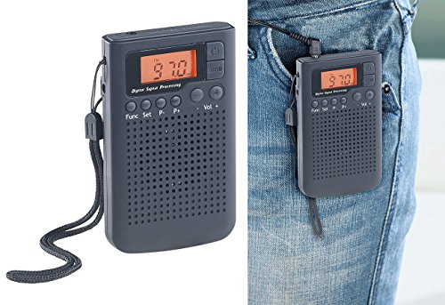 auvisio Pocketradio: UKW-/MW-Taschenradio mit LCD-Display, Wecker, DSP, PLL-Tuner (Camping Radio)