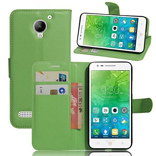 Ycloud Tasche für Lenovo C2 Hülle, PU Ledertasche Flip Cover Wallet Hülle Handyhülle mit Stand Function Credit Card Slots Bookstyle Purse Design grün