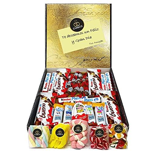 Lote para Regalo +25 Chocolates Kinder y 450 grs de Chuches, Contiene Chocobons, Kinder Maxi, Kinder Bueno, Kinder Joy, Kinder Happy Hippo y 450 grs de Chuches varias. Opc. Dedicatoria Personalizada