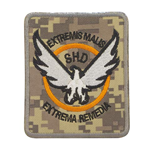 Cobra Tactical Solutions The Division SHD Extremis Malis Extrema Remedia Digital Camo Military Besticktes Patch mit Klettverschluss für Airsoft Cosplay Paintball für Taktische Kleidung Rucksack