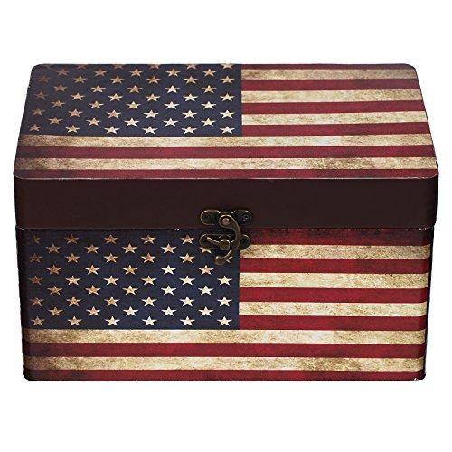 Truhe Kiste 11A6028 USA, Holztruhe mit Canvas bezogen im Vintage Look, Schatzkiste,Kiste, Piratenkiste, Kleinmöbel, Mit Metallbeschlägen, Antikoptik, Holz, verschieden Größen, Maritim, Deko, Hochwertig, Kolonialtruhe, Kolonialstil, Holzbox, Truhe mit Ornamenten . (Größe L 26cm x 16cm x 14cm)