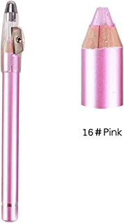 Niome 1Pc Waterproof Eyeshadow Eyebrow Eyeliner Pencil With Sharpener Cap Easy to Color Brighten Eyes 16# Pink
