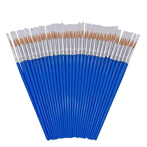SUNKISTY Children's Art Paintbrushes,Little Painting Brushes for Kids with Flat and Round Tips 60 Pieces