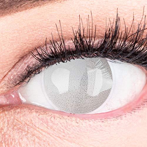 Farbige graue Kontaktlinsen Grauer Star Blind-Effekt Ohne Stärke - Stark Deckende Halloween Fasching Crazy Fun Lenses mit gratis Kontaktlinsenbehälter