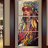 zxddzl Pintura Moderna Triple niña India Decorativa hh361-2 40 * 60cmx3