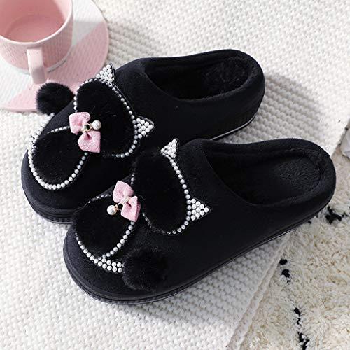 SHYPT Zapatillas de algodón de Las Mujeres Zapatillas de Gatos Lindos Plataforma para Mujer Zapatos de Interior para Mujeres Zapatillas de Invierno Zapatillas de casa Zapatos cálidos Femeninos