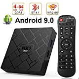 Android 9.0 TV Box con 4 GB di RAM 64 GB di ROM, HK1 max Tv Box Android Quad Core 64 bit Integrato BT 4.1 Dual-WiFi 2,4 GHz / 5 GHz, Supporto 4K (60 Hz) Full HD / 3D / H.265, USB 3.0 [Versione 2019]