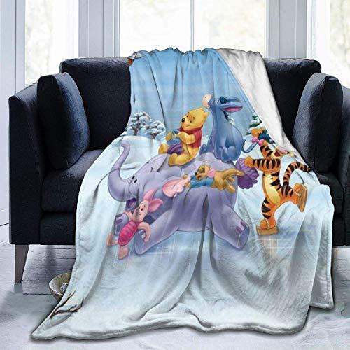 Lsjuee Springender Tiger und Winnie The Pooh Decke Flanell Mikrofaser-Wurfdecken Superweicher Fuzzy-Luxus Geeignet für Bettsofa Reisen Vier Jahreszeiten Decke 60 x 50 Zoll