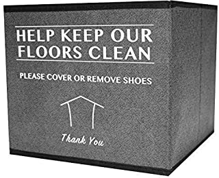 Shoe Cover Box | Disposable Shoe Bootie Holder for Realtor Listings and Open Houses | Please Cover or Remove Shoes Bin