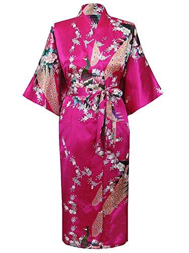HonourSport Donna accappatoi Peacock Kimono lunghi vestaglia giapponese Robe abito più Silk Size XL (italiana Taglia 44) Rosa Rossa