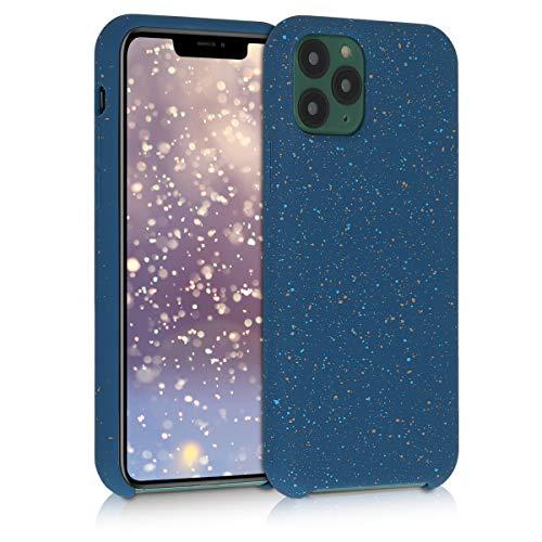 kwmobile Hülle kompatibel mit Apple iPhone 11 Pro - TPU Silikon Handyhülle mit Kameraschutz - Handy Hülle Sprenkel Weiß Blau Dunkelblau