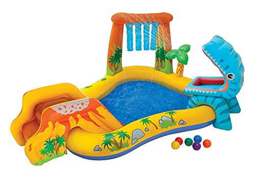 Kids-Inflatable-Pool Small Kiddie Blow Up Above Ground Swimming Pool Is Great For Kids & Children To Have Outdoor Water Fun With Slide, Floats & Toys. This Dinosaur Baby Swim Pool - Light & Portable.