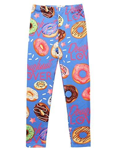 Jxstar Girls Pants Sweet Doughnut Printed Trousers Ankle Length Basic Leggings Doughnut 150