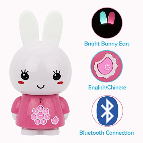 alilo Honey Bunny 8GB MP3 Player with Bluetooth Kids Learning Toys Bedtime Story Night Light (Bilingual Pink)