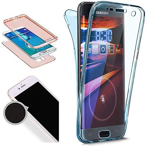 Nadoli 360 Grad Handyhülle für Galaxy S7,Transparent Full-Body Weich Flexibel Einfarbig Farbe Blau Durchsichtig Schutzhülle für Samsung Galaxy S7,Blau