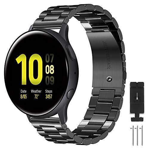 CAVN Armbänder Kompatibel mit Samsung Galaxy Watch Active 2 / Galaxy Watch 4 /Active 1/ Galaxy Watch 3, 20mm Edelstahl Metall Ersatzarmband Damen Herren Uhrenarmbänder für Galaxy Watch 4/4 Classic