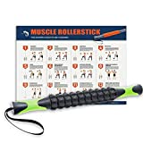 Muscle Roller, Kamileo Massage Roller Stick for Relieving Muscle Soreness Cramping Tightness Athletes Legs Back Calf Body Joints Recovery Therapy Tool(Manual, Workout Poster Included) - Classic Black