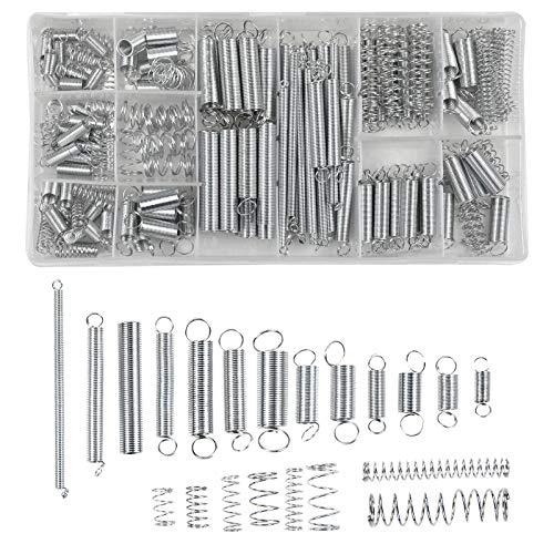 Chstarina 200pcs Molla kit Assortimento Molla di trazione e Compressione Molle di Estensione Zincato Set 20 Dimensioni Molla di Acciaio Zincato con Scatola