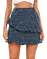 SheIn Women's Summer Floral Print Ruffle Tiered Layer Short Skirt Navy Small