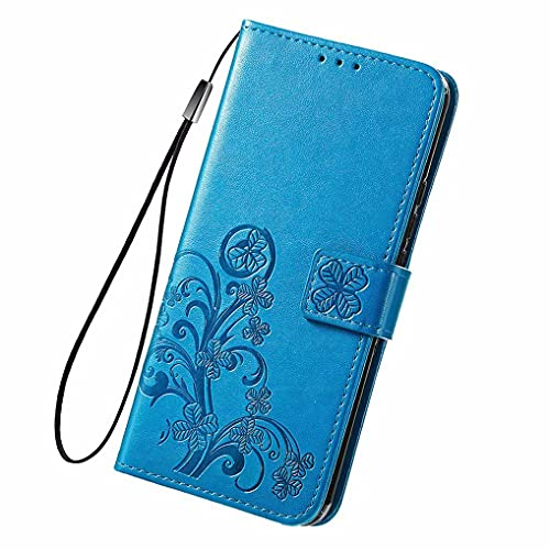 LINER Leder Hülle für Vivo Y72 5G / Vivo Y52 5G Glücksklee Geprägte Klapphülle, Premium PU Folio Brieftasche Stoßfest Schutzhülle Handyhülle mit Kartensteckplätze/Standfunktion - Blau