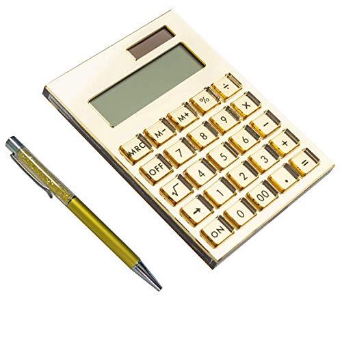E&O Acryl-Taschenrechner, solarbetrieben, 12-stelliges LCD-Display, modernes elegantes Schreibtisch-Accessoire, Büro-Heimelektronik, Business-Geschenkideen, kostenloser stilvoller Stift (mattes Gold)