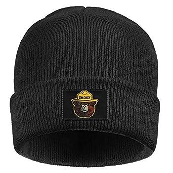 Women Men Skull Slouch Beanie Funny Bear Skull Cap Knit Hat Black